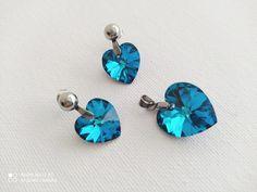 #japohu Blues, Swarovski, Heart, Earrings, Jewelry, Ear Rings, Stud Earrings, Jewels, Schmuck