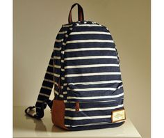 Fashion Knitted Blue Grey Stripe Backpack Bag-Bags & Backpacks