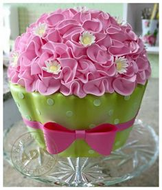 Pink and green giant cupcake