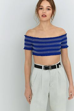 Slide View: 1: Pins And Needles Contrast Ruched Off-The-Shoulder Top