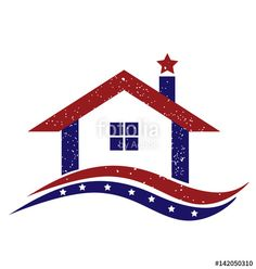 """Download the royalty-free vector """"Logo patriotic american house vector design"""" designed by glopphy at the lowest price on Fotolia.com. Browse our cheap image bank online to find the perfect stock vector for your marketing projects!"""