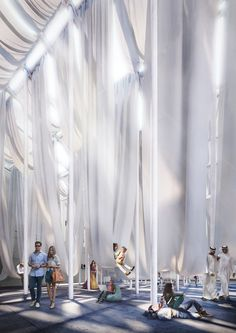 dk proposes 'dubai smiles', a pavilion with huge hammocks Fabric Installation, Interactive Installation, Stage Design, Event Design, Giancarlo Mazzanti, Dubai, Fabric Structure, Space Architecture, Urban Design
