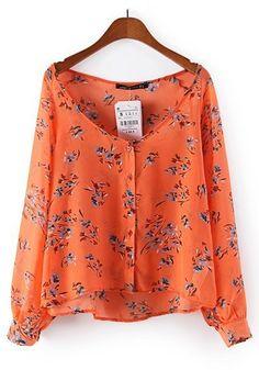 Orange Floral Print Chiffon Blouse