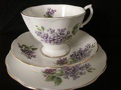 RICHMOND VINTAGE BONE CHINA CUP SAUCER & TEA PLATE TEA SET TRIO VIOLETS DECOR
