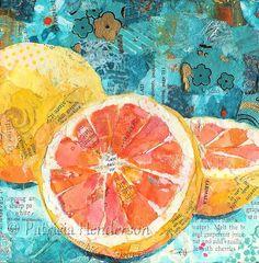 PINK SUNSHINE Original Paper Grapefruit by PatriciaHendersonArt
