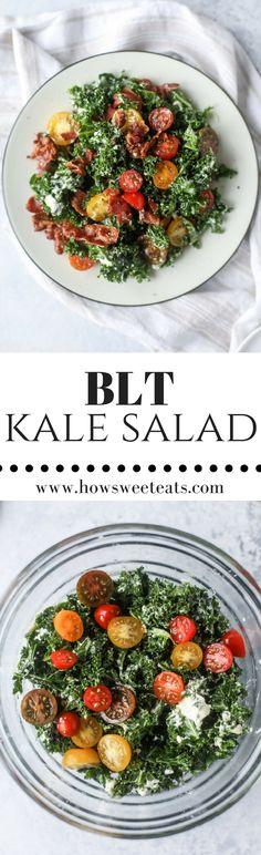 BLT Shredded Kale Salad with Greek Yogurt Ranch Dressing Salad Dressing Recipes, Salad Recipes, Healthy Recipes, Salad Dressings, Veggie Recipes, Delicious Recipes, Kale Salad, Soup And Salad, Salad Bar