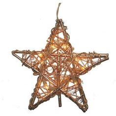 Kurt Adler 10 Light Indoor Rattan Gold Star Treetop -- This is an Amazon Affiliate link. Click on the image for additional details.