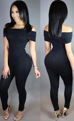 Off Shoulder Sexy Black Jumpsuit Bodycon Jumpsuit efa76bac1