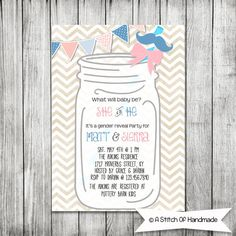Couples Gender Reveal Party  Baby Shower boy by AStitchOfHandmade, $10.00