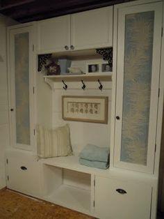 DIY storage for basement. Even the doors were handmade!