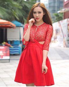 Lace And Zip Detail Short Dress redDIVDW682