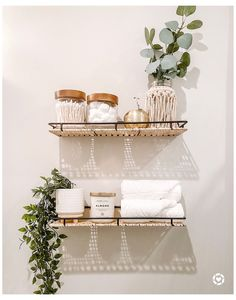 Bathroom Shelf Decor, Bedroom Decor, Bathroom Ideas, Bathroom Inspo, Diy Bathroom Shelving, Decorating Bathroom Shelves, Toilet Room Decor, Modern Boho Bathroom, Restroom Decoration