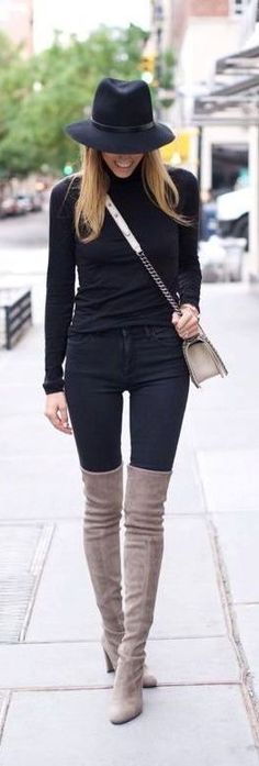 All black with gray suede OTK boots.