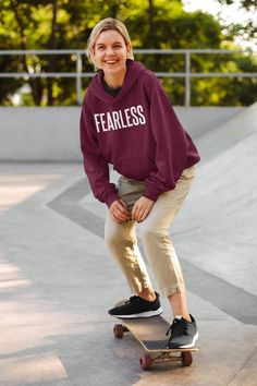 Fearless Skater Style Minimalist Unisex Heavy Blend Hooded image 0 Dog Mom Shirt, Dog Hoodie, Mom Shirts, Crew Neck Sweatshirt, Comfy Hoodies, Hooded Sweatshirts, Clothes With Quotes, Skater Style, Cool Tees