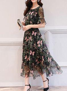 Shop Black Butterfly Print Flare Sleeve Maxi Dress at EZPOPSY. Backless Maxi Dresses, Maxi Dress With Sleeves, Elegant Maxi Dress, Dress Shirt, Dress Outfits, Casual Dresses, Fashion Dresses, Dresses Dresses, Dance Dresses