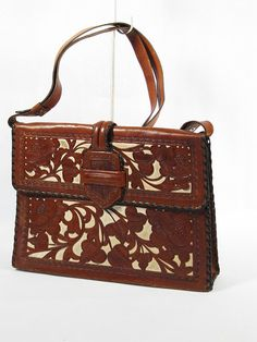 Vintage Purse White and Brown Tooled Leather by alleycatsvintage, $74.00