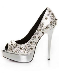 Promise Manchi Silver Spike Heels