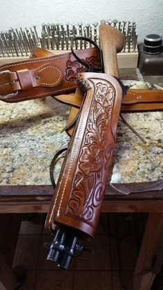 Western rifle holster Leather Quiver, Leather Rifle Sling, Custom Leather Holsters, Tan Leather, Leather Craft Tools, Leather Projects, Shotguns, Firearms, Western Holsters