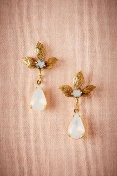 opal drop earrings, adorned with a trio of golden leaves | Mimi Earrings from BHLDN