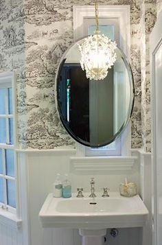 oval white mirror bathroom high contrast powder room walls white beadboard 19823