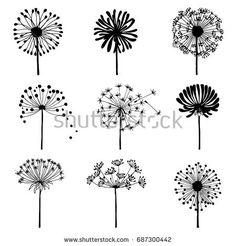 Set of doodle dandelions. Decorative Elements for design, dandelions flowers blooming. Dandelion Drawing, Dandelion Clock, Dandelion Flower, Dandelion Tattoo Design, Doodle Drawings, Easy Drawings, Doodle Art, Floral Retro, Bullet Journal Art