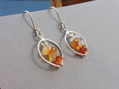 Silver Earrings with Genuine Amber Shards  Autumn