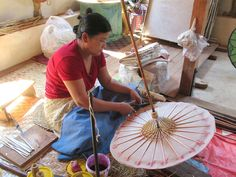 Umbrellas put together using handmade paper at a workshop on southern Inle Lake, Myanmar (Burma). Inle Lake, Umbrellas, Workshop, Southern, Paper, Handmade, Atelier, Craft, Arm Work