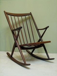 Mid-Century Danish Modern Rocking Chair - 1950s Vintage Rocker in Walnut