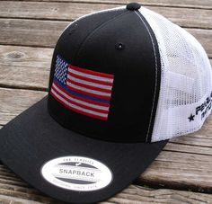 Black  amp  White trucker Snap Back cap with full color Thin Blue Line Flag. 6d821755cab75