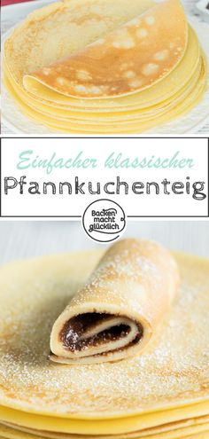 Pancakes - the best basic recipe Baking makes you happy - Rezepte: Mehlspeisen & Co. - Classic recipe for a simple pancake batter. This basic recipe for pancakes is guaranteed to work. Easy Dinner Recipes, Appetizer Recipes, Holiday Recipes, Dessert Recipes, Salad Recipes, Desserts, Easy Pancake Batter, Pancakes Easy, Happy Pancakes
