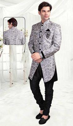 Mens Gray Brocade Indian Wedding Shoes MJ0170