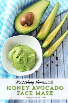 Nourish and brighten your skin with this easy DIY Honey Avocado Face Mask recipe. LivingLocurto.com