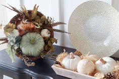 Fall décor - cornucopia, white pumpkins