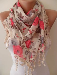 Floral Scarf with Lace :)