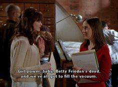 I love that Gilmore Girls came up when I searched the Betty Friedan tag! Gilmore Girls Funny, Gilmore Girls Seasons, Gilmore Girls Quotes, Lorelai Gilmore, Girls Season 6, Team Logan, Glimore Girls, Stars Hollow, Girl Memes