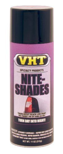 VHT SP999 Nite-Shades Lens Cover Tint Translucent Black Paint Can - 10 oz. by VHT. $12.06. VHT SP999 Translucent Black Nite Shades is a transparent black tail light lens coating for creating custom European styling. When applied to tail lights, fog lights, or turn indicators, VHT Nite Shades appears black until they are lit, then the natural red color appears. Recommended for off-road use only. WARNING once applied to plastic lens SP999 is not able to be satisfactorily rem...