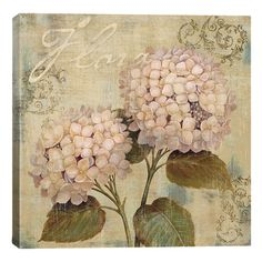 Cotton canvas print with a hydrangea motif and pine wood stretchers. Made in the USA.  Product: Canvas printConstruc...