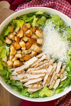 Chicken Caesar Salad with Garlic Croutons and Light Caesar Dressing   Cooking Classy