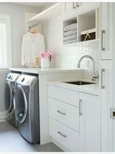 50 Cool Small Laundry Room Design Ideas December Leave a Comment Every family home needs a laundry room, but not all homes have enough space for one. But not all laundry rooms need a lot of space! A laundry just needs to be functional Mudroom Laundry Room, Laundry Room Remodel, Small Laundry Rooms, Laundry Room Organization, Laundry In Bathroom, Organization Ideas, Storage Ideas, Laundry Room With Storage, Storage Room