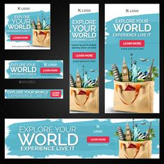 Buy Tours & Travels Banners by Hyov on GraphicRiver. Promote your Products and services with this great looking Banner Set. Simply Learning, Instagram Banner, Facebook Banner, Youtube Banners, Display Ads, Catalog Design, Banner Template, Art Design, Banner Design