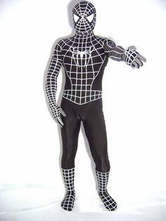 Black And White Full Body Spandex Spiderman Costume