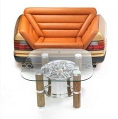 W124 Mercedes-Benz Tailgate 2-person sofa with Chromed Wheel short coffee table.