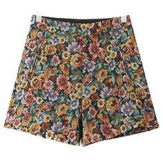 Chicnova Fashion Boho Floral Print Shorts ($16) ❤ liked on Polyvore featuring shorts, high rise shorts, floral shorts, flower print shorts, highwaist shorts and high-waisted shorts