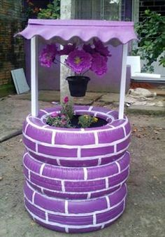 Old tyres crafted into a well shaped planter...