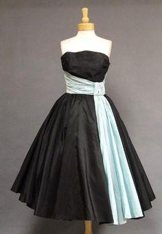 ~Will Steinman Black & Aqua Taffeta 1950s Cocktail Dress~