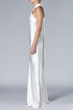 Bridal Asymmetric Neckline White Satin Dress | Luxury Modern Wedding Dress | Galvan London