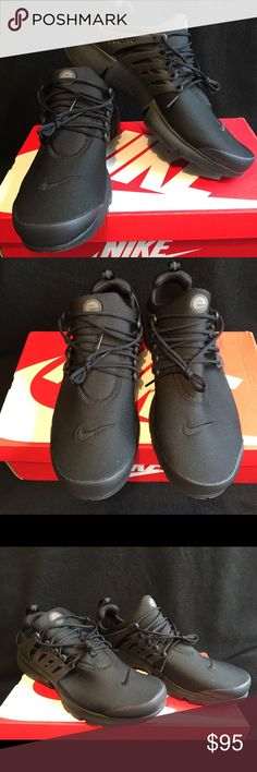 Triple Black Nike Air Presto NWOT Adaptable and breathable, the stretch mesh upper conforms to your foot and provides stellar ventilation. A featherweight foam midsole ensures you get a barefoot-like feel, while an Air-Sole unit absorbs shock and provides just enough cushioning. A rubber sole with traction pattern holds it all together. Nike Shoes Athletic Shoes