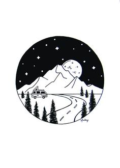 Mountains and Galaxy Scene, Outer Space Artwork, RV in the Mountains, Planets, – Art Sketches Space Drawings, Space Artwork, Sketchbook Drawings, Cool Art Drawings, Pencil Art Drawings, Doodle Drawings, Doodle Art, Easy Drawings, Art Sketches
