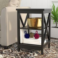 Wade Logan® Isabell Bar with Wine Storage & Reviews | Wayfair Coastal Living Rooms, Living Room Decor, Living Area, Living Room Arrangements, End Tables With Storage, Barrel Chair, Ladder Bookcase, Toss Pillows, Home Decor Accessories