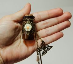 Miniature Glass Bottle Charm Necklace  Vintage by TheCharmedPath, $18.00